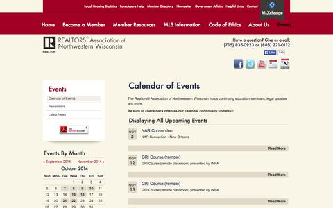 Screenshot of Press Page ranww.org - Realtors Association of Northwestern Wisconsin | Calendar of Events | Continuing Education, Meetings, Conferences - captured Oct. 26, 2014