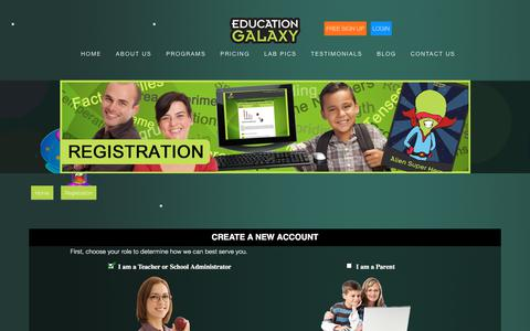 Screenshot of Signup Page educationgalaxy.com - Registration - Educationgalaxy - captured July 16, 2018