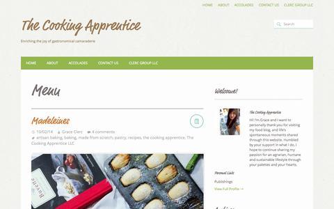 Screenshot of Menu Page thecookingapprentice.com - Menu | The Cooking Apprentice - captured Oct. 7, 2014