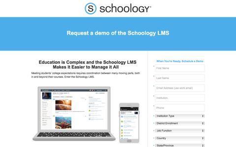 Screenshot of Landing Page schoology.com - Request a Demo of the Schoology LMS - captured Jan. 23, 2018