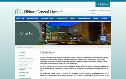 Screenshot of Press Page egh.org - Media Center - Elkhart General Hospital - captured Oct. 2, 2014