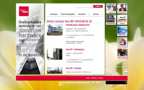 Screenshot of Contact Page itec.nl - Direct contact Itec: 0418 68 22 22 | Itec - Innovators in Printing - captured Oct. 6, 2014