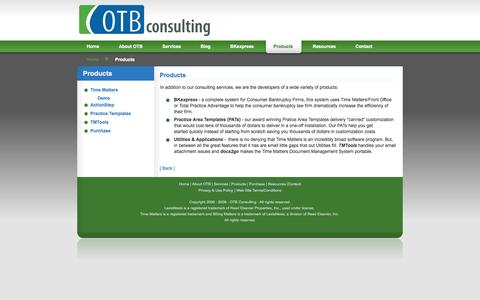 Screenshot of Products Page otb-consulting.com - OTB Consulting - Products - captured Sept. 30, 2014