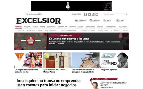Screenshot of Home Page excelsior.com.mx - Excélsior | El periódico de la vida nacional - captured Nov. 11, 2015