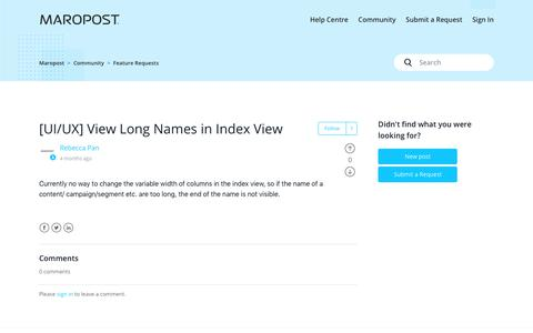 Screenshot of Support Page maropost.com - [UI/UX] View Long Names in Index View – Maropost - captured July 1, 2019