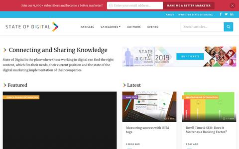 Screenshot of Home Page stateofdigital.com - State Of Digital: Collaborating, Connecting, Sharing Knowledge - captured Nov. 13, 2019