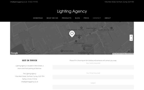 Screenshot of Contact Page lightingagency.co.uk - Contact - Lighting Agency - captured May 18, 2017