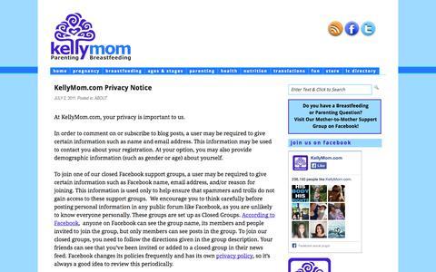 Screenshot of Privacy Page kellymom.com - KellyMom.com Privacy Notice : KellyMom - captured Sept. 19, 2014