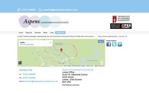 Screenshot of Contact Page aspensaccountants.co.uk - Aspens Chartered Accountants, Lewes, Brighton and East Sussex - captured Oct. 4, 2014
