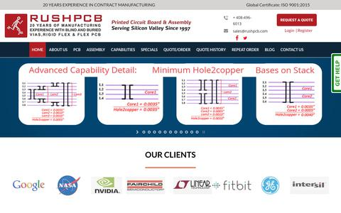 Screenshot of Home Page rushpcb.com - PCB, Printed Circuit Board Manufacturer, Design & Assembly | RushPCB USA - captured Jan. 16, 2019