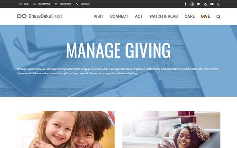 Screenshot of FAQ Page chaseoaks.org - Manage Giving - Chase Oaks Church - captured July 26, 2017