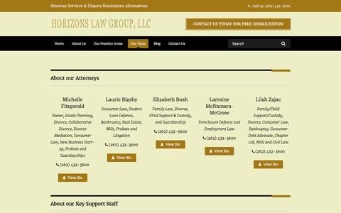 Screenshot of Team Page horizonslaw.com - Our Team - Horizons Law Group, LLC - captured Nov. 12, 2016