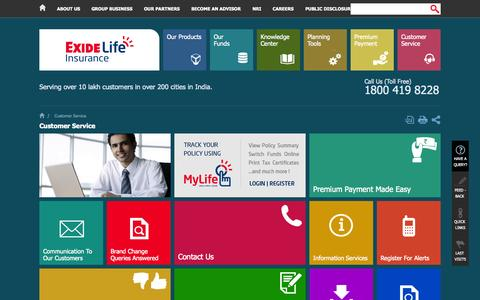 Screenshot of Support Page exidelife.in - Customer Services for Life Insurance Products - Exide Life Insurance - captured Sept. 24, 2014