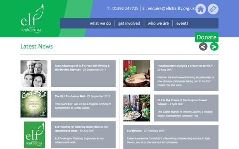 Screenshot of Press Page elfcharity.org.uk - Latest News | Exeter Leukaemia Fund - captured Sept. 10, 2017