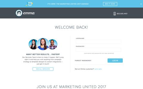 Screenshot of Login Page myemma.com - Login | Emma Email Marketing - captured March 4, 2017