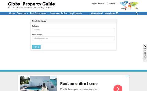 Screenshot of Signup Page globalpropertyguide.com - Newsletter Sign up - captured July 19, 2018