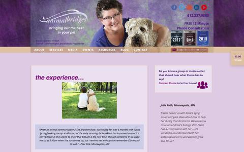 Screenshot of Testimonials Page animalbridges.com - the experience... - Animal Bridges - captured July 30, 2018