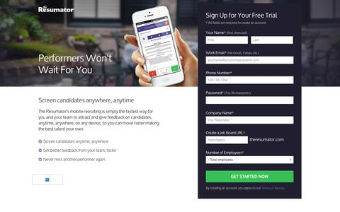 Screenshot of Landing Page theresumator.com - Performers Wont Wait For You - captured Oct. 27, 2014