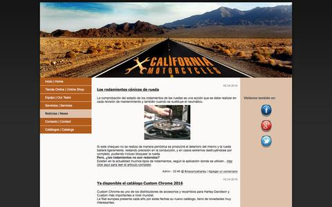 Screenshot of Blog california-motorcycles.es - Noticias California Motorcycles Blog - captured July 10, 2016