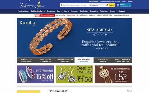 Screenshot of Home Page johareez.com - Jewellery Shopping: Gold & Silver Jewellery Shopping India - captured Oct. 18, 2015