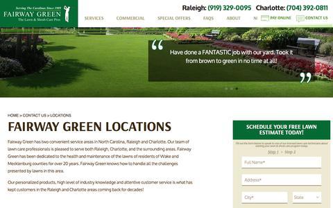 Screenshot of Locations Page fairwaygreen.com - Fairway Green Raleigh & Charlotte Service Locations - captured June 18, 2016