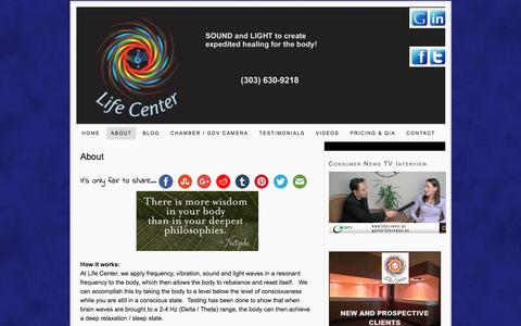 Screenshot of About Page lifevesseloftherockies.com - Life Center – trauma release and pain management - captured May 18, 2017