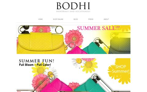 Screenshot of Home Page bodhibags.net - BODHI Handbags and Accessories - captured Oct. 4, 2014