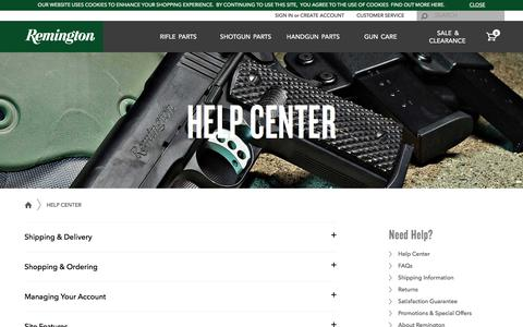 Screenshot of Support Page remington.com - Shop Remington - captured Sept. 7, 2016