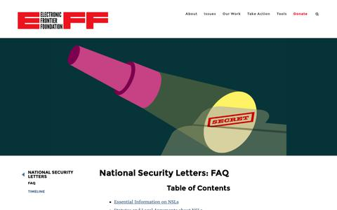 Screenshot of FAQ Page eff.org - National Security Letters: FAQ | Electronic Frontier Foundation - captured May 12, 2019