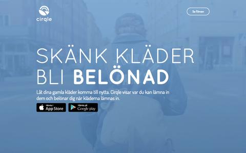 Screenshot of Home Page cirqle.se - Cirqle - Skänk kläder bli belönad - captured July 21, 2015