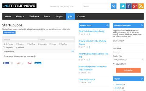 Screenshot of Jobs Page startupnews.com.au - Startup Jobs | //Startup News - captured Jan. 12, 2016