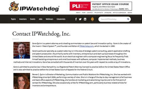 Screenshot of Contact Page ipwatchdog.com - Contact IPWatchdog, Inc. - IPWatchdog.com | Patents & Patent Law - captured April 17, 2018