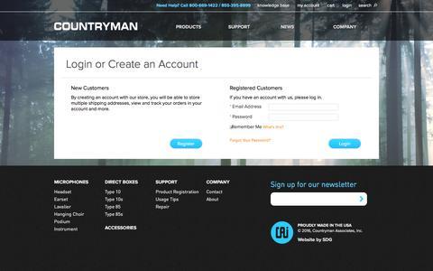 Screenshot of Login Page countryman.com - Customer Login  | Countryman Associates, Inc. - captured Feb. 1, 2016