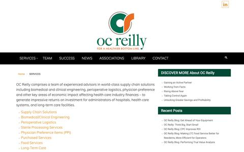Screenshot of Products Page Services Page ocreilly.com - SERVICES – Healthcare Consulting | OC Reilly - captured Oct. 19, 2018