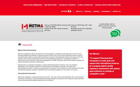 Screenshot of About Page metinapharmconsulting.com - Metina PharmConsulting | Company Background and profile - captured Oct. 18, 2018