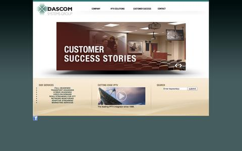 Screenshot of Home Page dascom-systems.com - Dascom Systems Group: Video Solutions Start Here. - captured Oct. 5, 2014