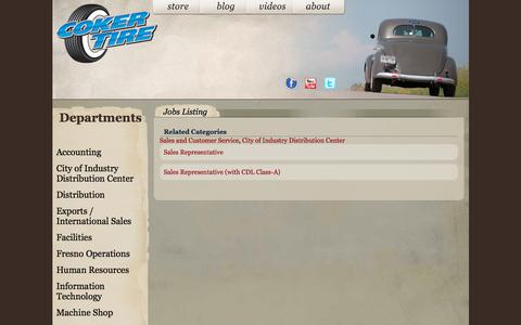 Screenshot of Jobs Page cokertire.com - Coker Tire Careers - captured June 29, 2018