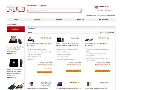 Screenshot of Products Page orealo.com - Orealo Distribution Inc. Products Orealo Distribution Inc. - captured Oct. 7, 2014
