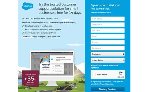 Screenshot of Trial Page salesforce.com - Service Essentials : Free Trial - Salesforce.com - captured Dec. 22, 2018