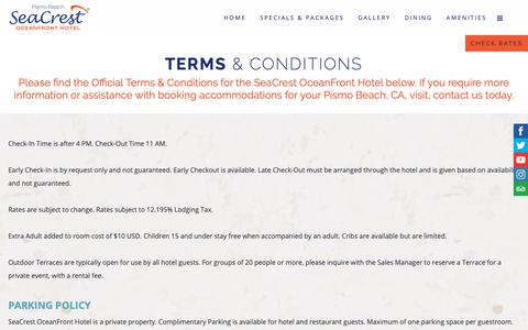 Screenshot of Terms Page seacrestpismo.com - Terms & Conditions - Pismo Beach Hotels CA - SeaCrest OceanFront Hotel - captured Sept. 27, 2018