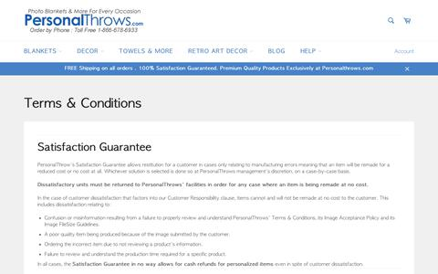 Screenshot of Terms Page personalthrows.com - Terms & Conditions – PersonalThrows - captured Sept. 24, 2018