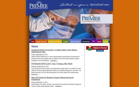 Screenshot of Press Page premiersurgical.com - Premier Surgical Associates - News - captured Oct. 3, 2014