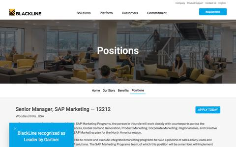 Screenshot of Jobs Page blackline.com - Senior Manager, SAP Marketing| Woodland Hills, CA, United States - captured Nov. 29, 2019