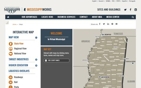 Screenshot of Maps & Directions Page mississippi.org - Maps - MDA - captured Feb. 6, 2016