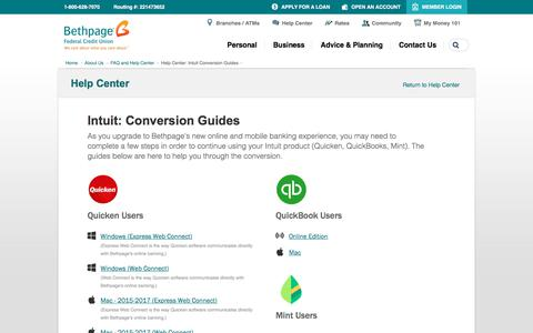 Screenshot of FAQ Page bethpagefcu.com - Help Center: Intuit Conversion Guides - captured Dec. 29, 2017