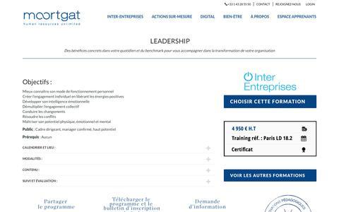 Screenshot of Team Page moortgat.com - Formation inter-entreprise - Leadership, inspirer et engager - Moortgat - captured Nov. 18, 2018