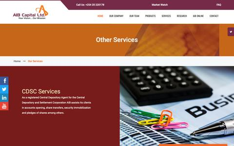 Screenshot of Services Page aibcapital.com - AIB Capital Ltd - captured Oct. 2, 2018