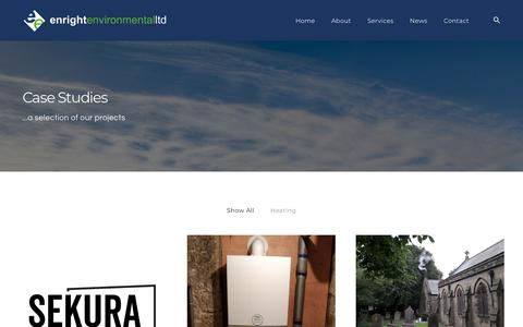 Screenshot of Case Studies Page enrightenvironmental.co.uk - Case Studies - Enright Environmental - captured Sept. 28, 2018