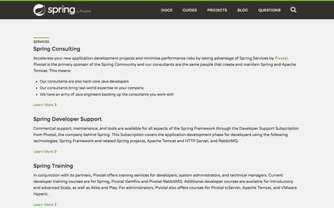 Screenshot of Services Page spring.io - Services - captured July 30, 2016