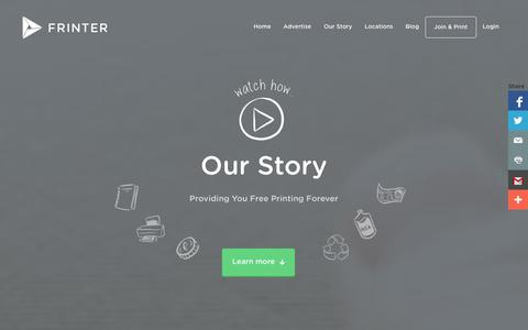 Screenshot of About Page frinter.co.uk - Our Story - Frinter - Free Printing, Forever! - captured Nov. 3, 2014